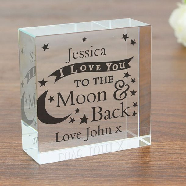 Personalised To the Moon & Back Crystal Token