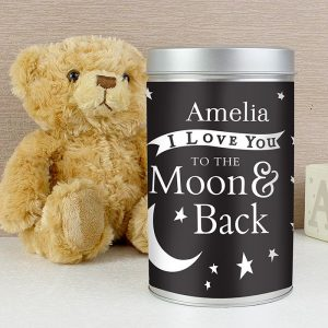 Personalised To The Moon Teddy & Tin