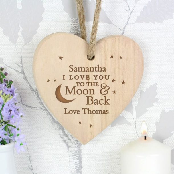 Personalised To The Moon Wooden Heart
