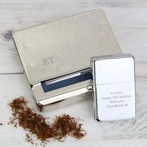 Personalised Tobacco Tin & Lighter Set