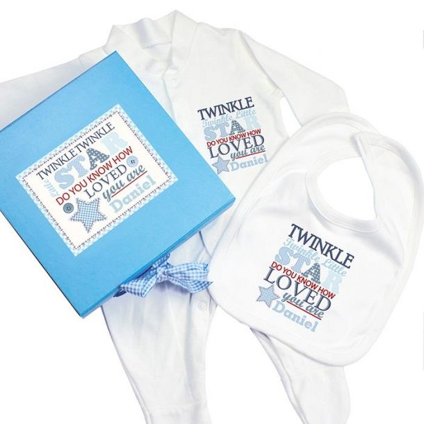 Personalised Twinkle Twinkle Baby Boy Set