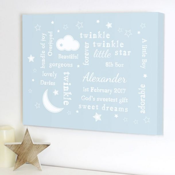 Personalised Twinkle Twinkle Blue Typography Canvas