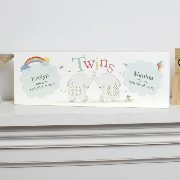 Personalised Twins Elephant Mantel Block