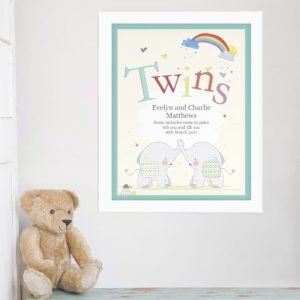 Personalised Twins Elephant Poster Frame