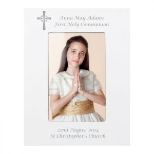 Personalised White Cross Photo Frame