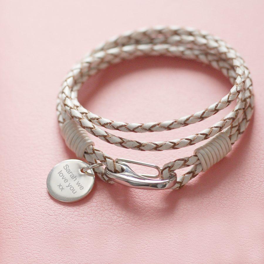 Personalised White Leather Bracelet
