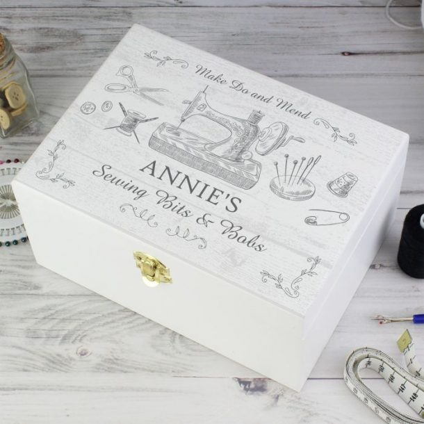 Personalised Wooden Sewing Kit Box