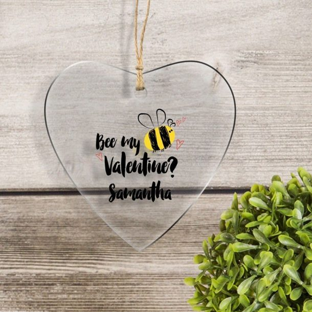 Personalised Bee Mine Solid Heart Glass Keepsake