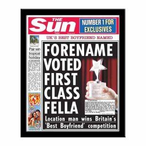 Personalised 'The Sun' Spoof Newspaper - Best Boyfriend