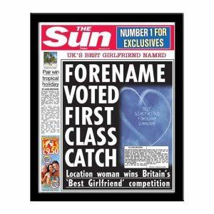 Personalised 'The Sun' Spoof Newspaper - Best Girlfriend