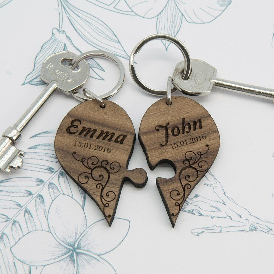 Personalised Couples Joining Heart Keyring Love My Gifts