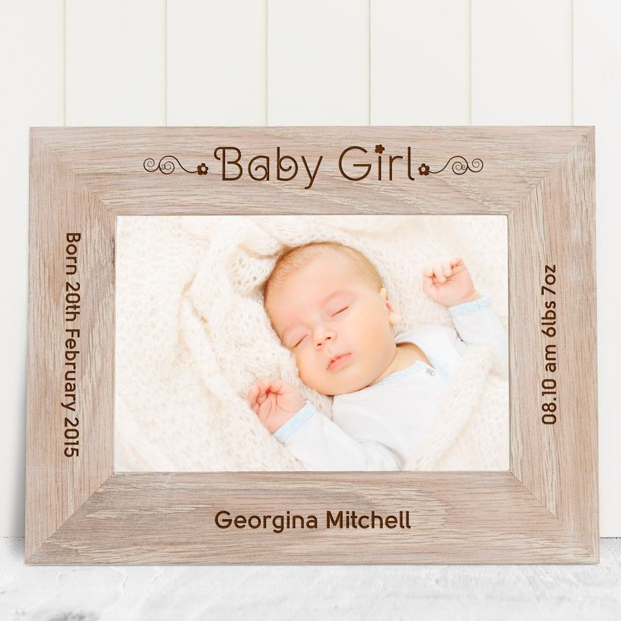 engraved baby girl solid oak photo frame love my gifts