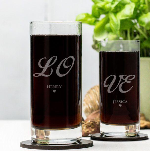Engraved Hi Ball Glass Set - Love
