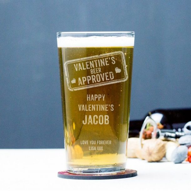 Engraved Valentine's Approved Pint Glass