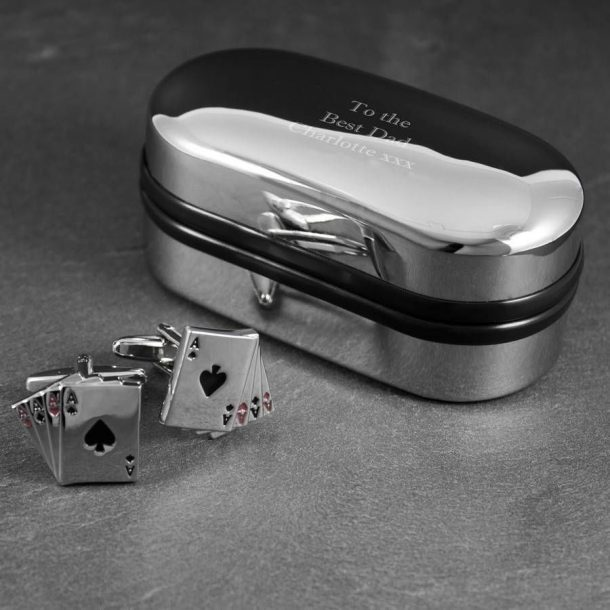 Personalised Aces Cufflinks & Case