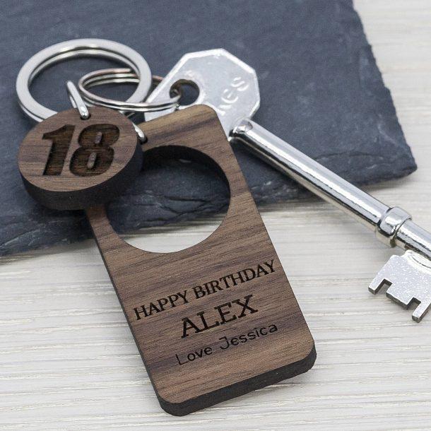 Personalised Happy Birthday Walnut Keyring