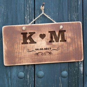 Personalised Vintage Style Initials and Heart Sign