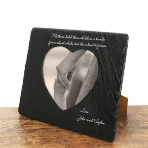 Engraved Mothers Hands & Hearts Slate Photoframe