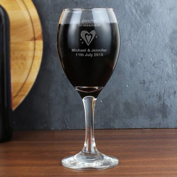 Personalised Hearts Wine Glass