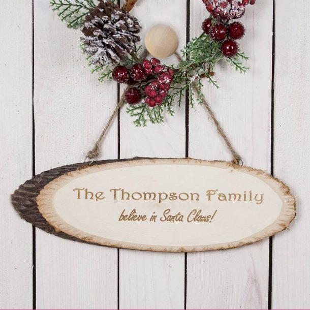 Personalised We Believe In Christmas Wooden Sign