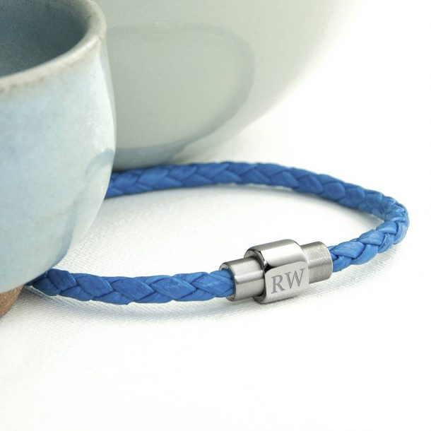 Personalised Men's Woven Leather Bracelet in Cobalt Blue