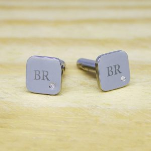 Personalised Silver Finish Cufflink With Diamond
