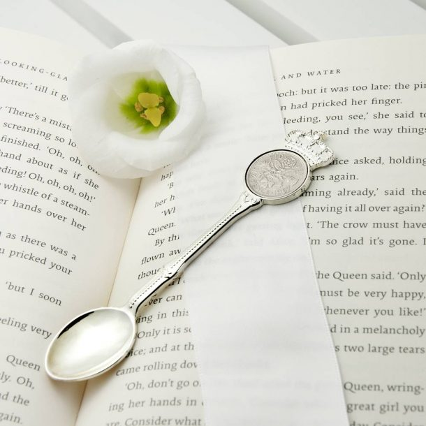 Personalised Silver Plated Lucky Sixpence Teaspoon