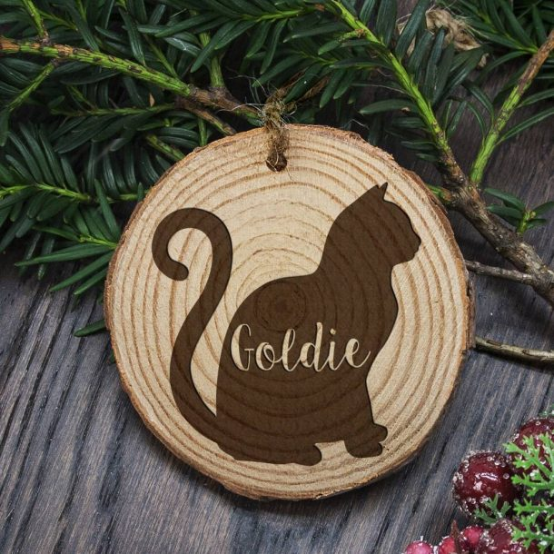 Personalised Cat Silhouette Christmas Tree Decoration
