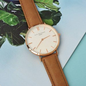 Personalised Leather Watch in Camel