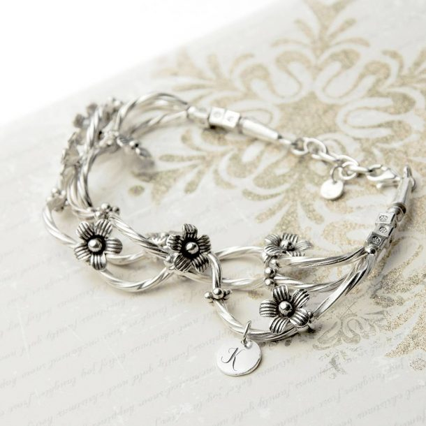 Personalised Silver Forget Me Knot Bracelet