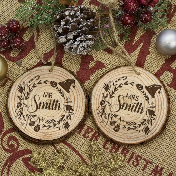 Personalised Set of Two Couple's Christmas Tree Decoration