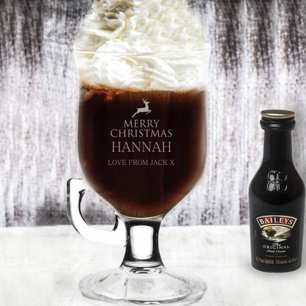 Personalised Reindeer Design Irish Coffee Glass