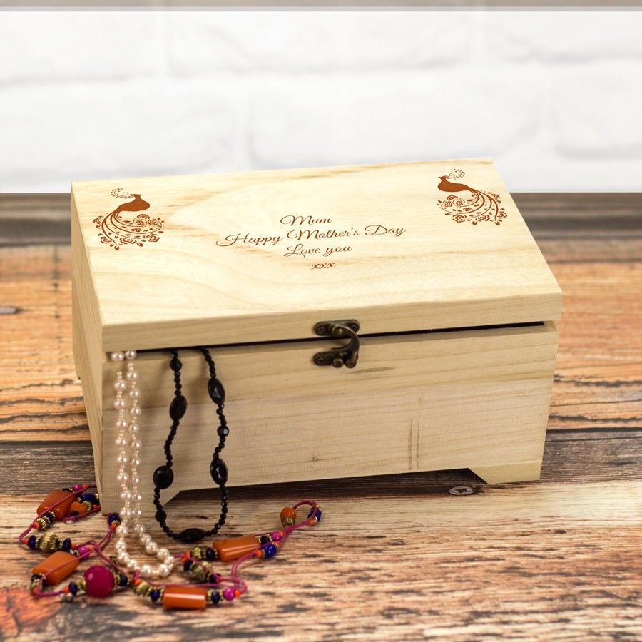 Personalised Large Wooden Jewellery Box Love My Gifts