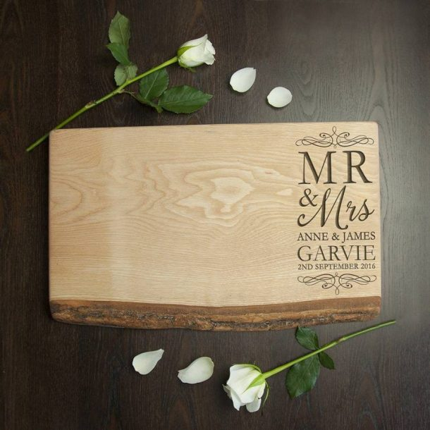 Personalised Mr & Mrs Rustic Welsh Ash Serving Board