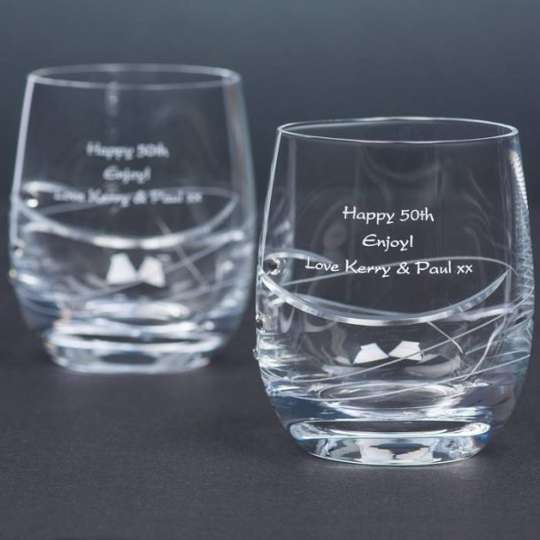 Personalised Pair of Swarovski Tumblers
