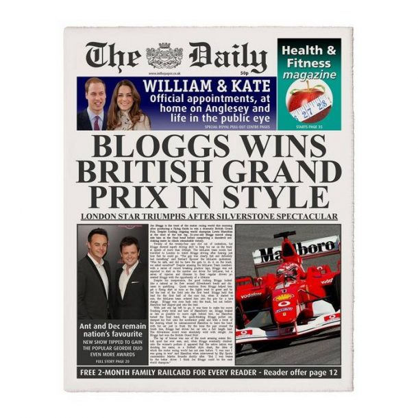Personalised The Daily F1 Newspaper