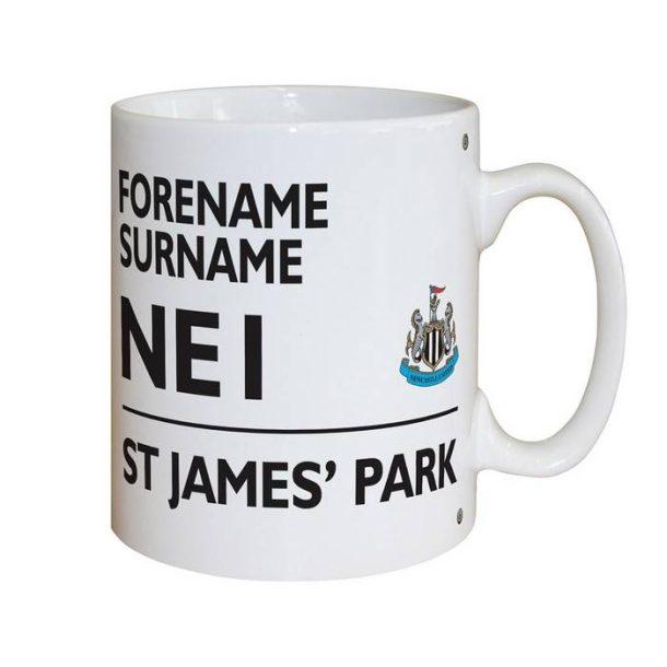 Personalised Newcastle United FC Street Sign Mug