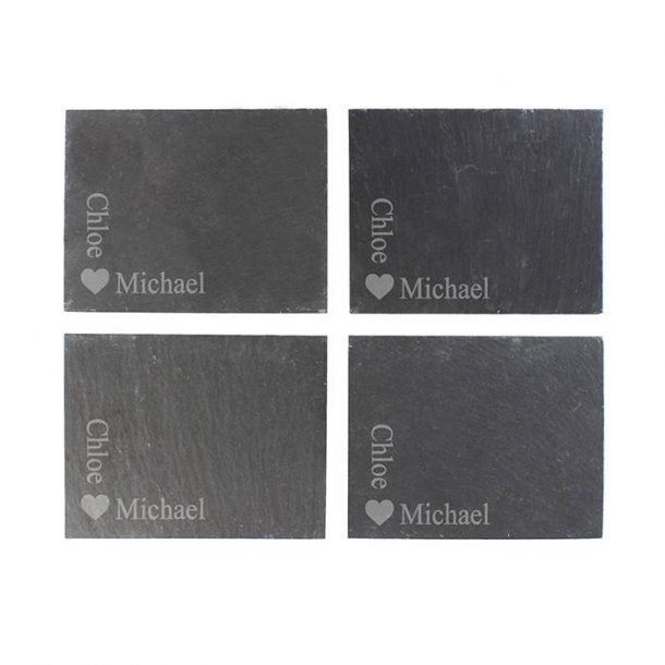 Personalised Heart Motif Slate Coasters