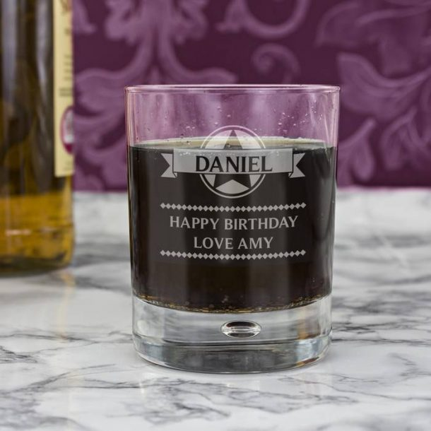 Personalised Diamond Whisky Glass