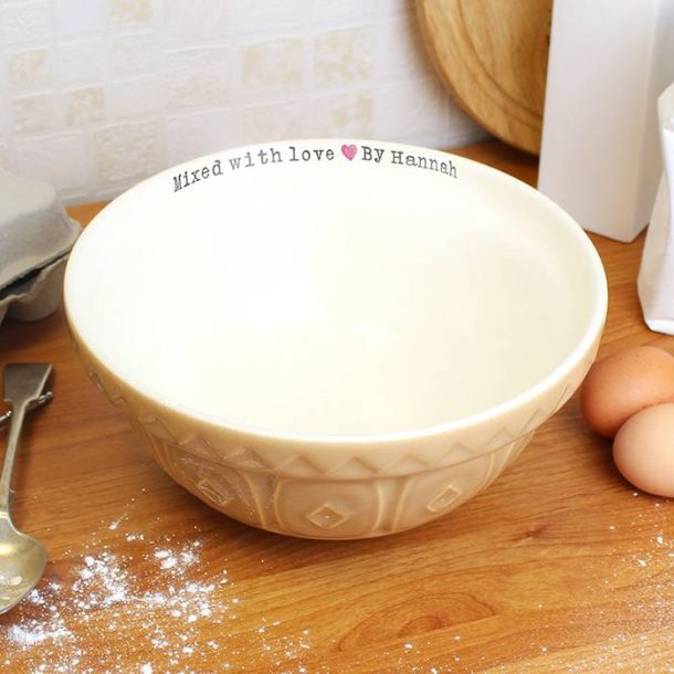 Personalised Mixed With Love Baking Bowl