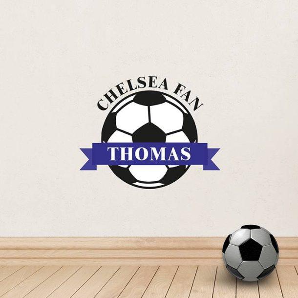 Personalised Blue Football Wall Art