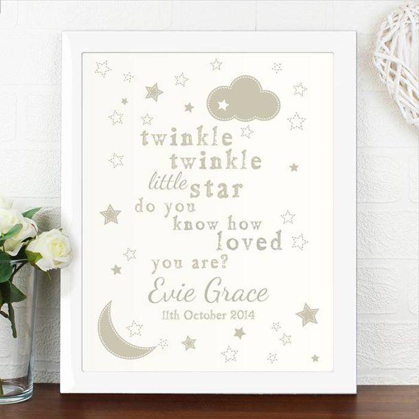 Personalised Twinkle Twinkle Poster & Frame