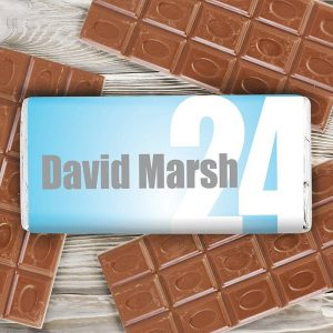 Personalised Blue Number Chocolate Bar