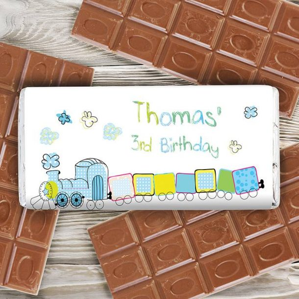 Personalised Patchwork Train Chocolate Bar
