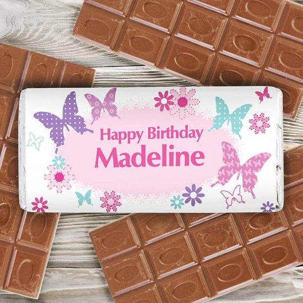 Personalised Butterfly Chocolate Bar