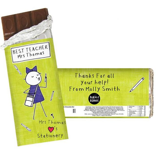 Personalised Female Teacher Chocolate Bar