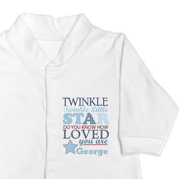 Personalised Twinkle Boys - Babygrow & Bib