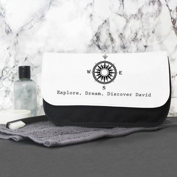 Personalised Mens Compass Wash Bag