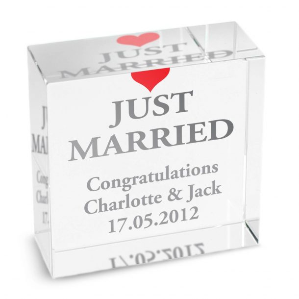 Personalised Just Married Crystal Token