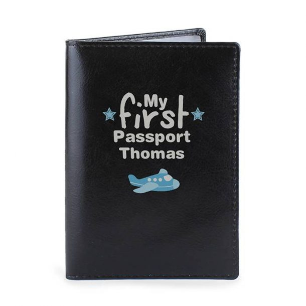 Personalised My First Black Leather Passport Holder